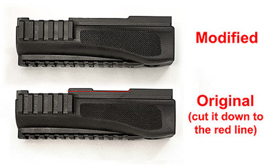 Plastic, railed handguard modification for UltiMAK M17